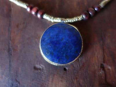 Lapis Lazuli  Afghan Turkmen Round necklace Tribal Alpaca  copper necklace Boho