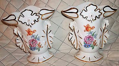 Vintage Old Paris Style MADE IN BELGIUM 25344 Pair of Floral Vases Gold Trim AND