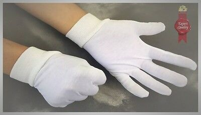 2 x pairs  WHITE  gloves 100% soft cotton  23 x cm long - inspection gloves NEW