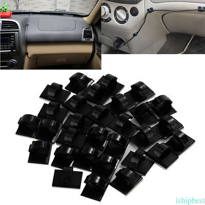 30pcs Car Wire Tie/Untie Rectangle Cable Holder Mount Clip Clamp Self-adhesive