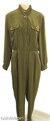 VINTAGE 80s KHAKI silky fabric military style long PANTS shirt JUMPSUIT 8 10