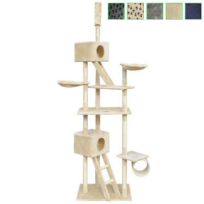 230-260cm 2 Houses Cat Tree Scratching Post Activity Centre Bed Toy Multi Choice