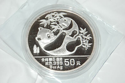 1989 China Panda S50Y Proof silver coin OGP 5oz