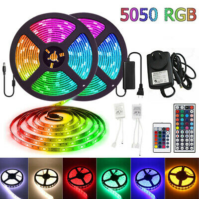 1M-30M 5050 RGB SMD LED Strip Light Flexible Lighting 12V IR Controller Adapter