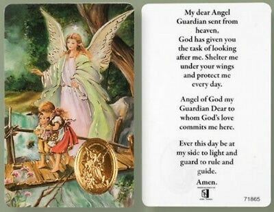 Guardian Angel Laminated Prayer Card + Foil Medal - Statues Pictures Candles