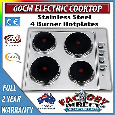 Adelchi 60cm Electric Cooktop Stainless Steel Hob 4 Hotplate Cook Stove Top