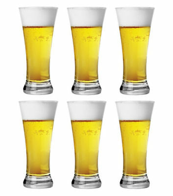 Set of 6 Clear Bira Beer Glass Drinking Schooner Drink 380ml Made in Turkey
