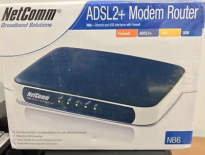 NetComm NB6 10/100 Wired Router ADSL2+ Modem Router Sealed