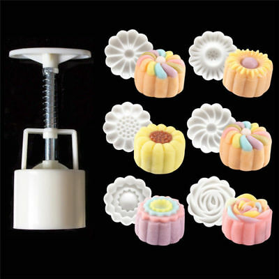 6Pcs Round 3D Hand Pressing  Moon Cake Mold Pastry Moon cake DIY Baking Mold Set