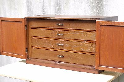 Vintage Double Door Stationery Cabinet 4 Drawers Japanese Craftsmanship (e0006)