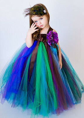 Halloween Girls Animal Peacock Costume Party Fancy Dress Outfit Cosplay
