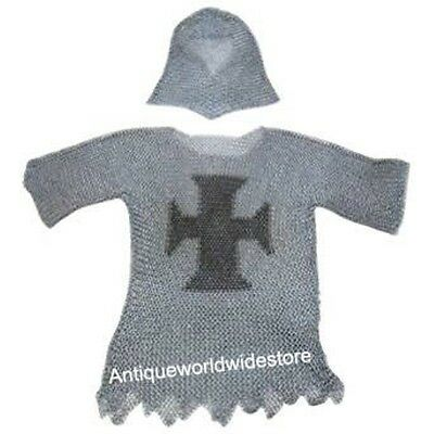 Armor Legendary Templar Cross Chainmail Haubergeon Butted Shirt With Coif