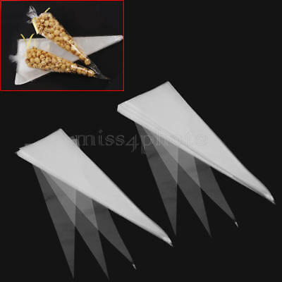 100/50pcs Cello Cellophane Cone Shaped Sweet Treat Display Gift Party Bags U S