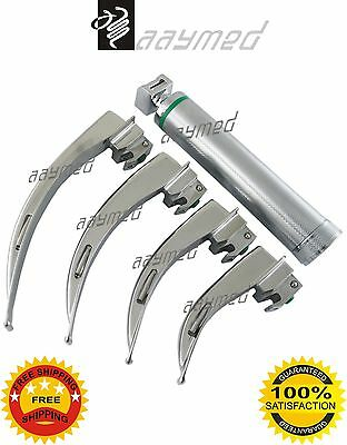 Macintosh Fiber Optic Laryngoscope Set 4 Nos. Blades LED Bright Light free ship