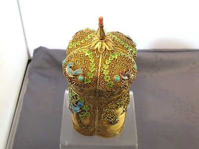 Vermeil Antique Wide Chinese Enameled Sterling Silver Tea Caddy Box Box For The