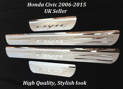 Honda Civic 2006 - 2015 4 Piece Stainless Steel Door Sill Scuff Plates Uk Seller