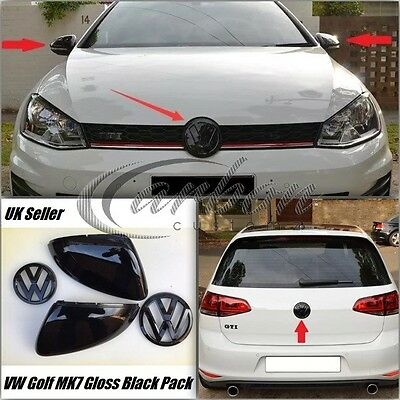 VW Golf MK7 Gloss Black Wing Mirror Covers & Badge Set, GTI Golf R GT TDI 2013 +