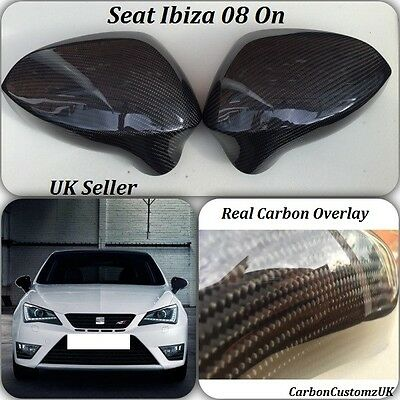 New Genuine Seat Ibiza 08 On Real Carbon Fibre Wing Mirror Covers LH & RH Pair
