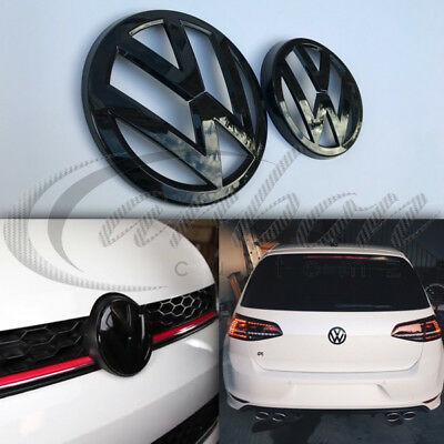VW Golf MK7 2013-2017 Gloss Black Front & Rear Badge Emblems GTI/GOLF R/GT-TDI