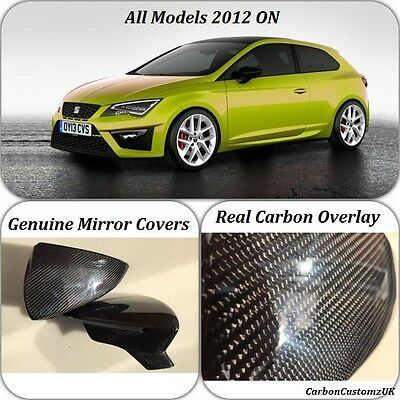New Genuine Seat Leon 2012 On Real Carbon Fibre Wing Mirror Covers LH & RH Pair