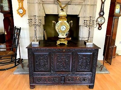 Superb And Substantial 17th / 18th Century Carved Oak Coffer / Mule Chest