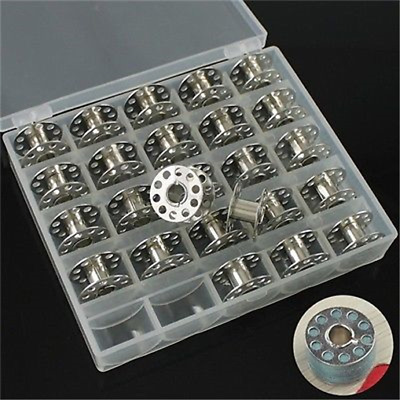 Plastic Metal Bobbins Spool With Storage Case Box for Home Sewing Machine 25pcs