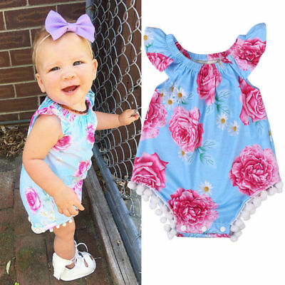 Lovely Infant Baby Girls Floral Romper Bodysuit Jumpsuit Outfits Sunsuit Clothes