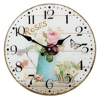 Clayre&Eef Vintage Wall clock Nostalgic Country Style Shabby RosesShabby Chic