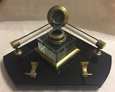Vintage Art Deco Black Glass Desk Stand With Brass Trim And Original Inkwell