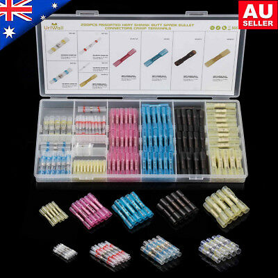 200Pc Assortment Heat Shrink Butt Crimp Wire Connectors Waterproof Solder Sleeve