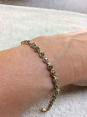 Lovely 9ct / 10k Diamond Bracelet 1.5ct Cognac / Light Brown Diamonds