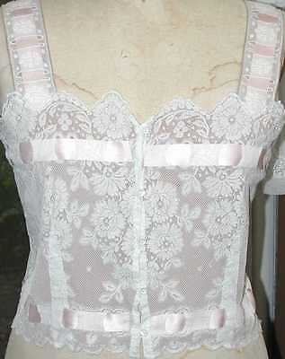 Restored, Finished Valenciennes Lace Camisole, Coffee Colored Silk Crepe Lining