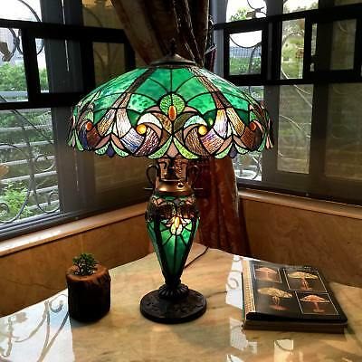 Tiffany Style Table Lamp Handcrafted Double Lit Stained Glass Home Decor Light