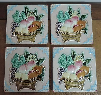RARE OLD ANTIQUE 4 pc  ART NOUVAEU MAJOLICA TILE MADE IN JAPAN (marked)