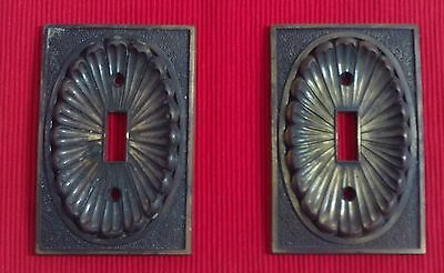 2 Vintage Brass Single Toggle Light Switch Cover Plate American Tack & Hdwe 1974