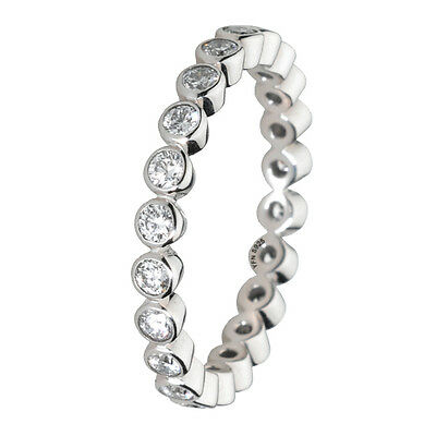 Stackable Ring 925 Solid Sterling Silver Clear Round Stone Eternity Band Size 6