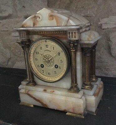 Pretty Antique 19c Neo Gothic French Veined White Marble Cased  Mantle Clock