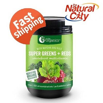 Nutra Organics Super Greens and Reds 600g now with Matcha