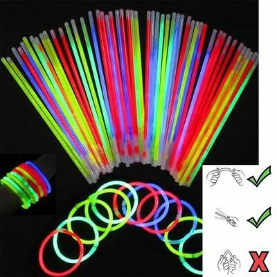 "8"" Glow Sticks Bracelets Necklaces Party Favors Neon Color + FREE Connectors"