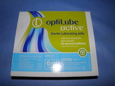 OptiLube active Sterile Lubricating Jelly 10 x 6ml Syringes w/ local anaesthetic