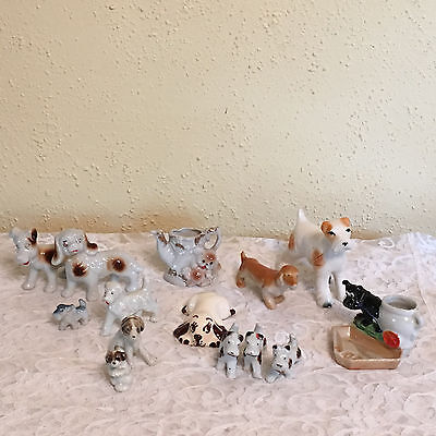 Vintage Ceramic Porcelain Dogs and Puppies Figurines Made in Japan Lot of 14