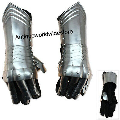 Medieval Knightly Gauntlets Carbon Steel Armor Gloves