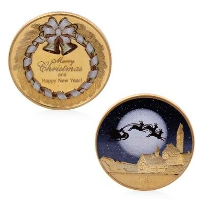 Golden Merry Christmas And Happy New Year Commemorative Challenge Coin Gift