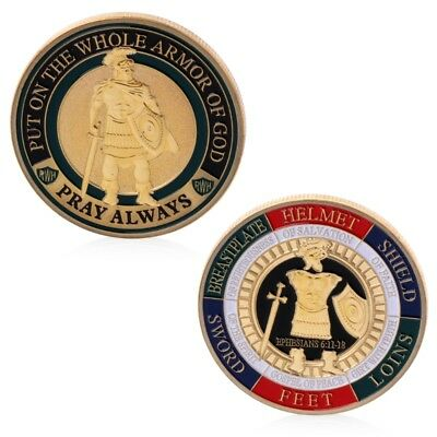 Put On The Whole Armor Of God Commemorative Challenge Coin Souvenir Golden