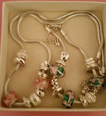 Not Pandora 11 charm bracelet and 9 charm necklace