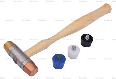 5 Interchangeable Faces Hammers Plastic Copper Rubber Brass Mallet Jewellery