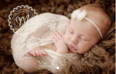 "Strech lace taupe newborn photo props wrap photography 18""x60"""