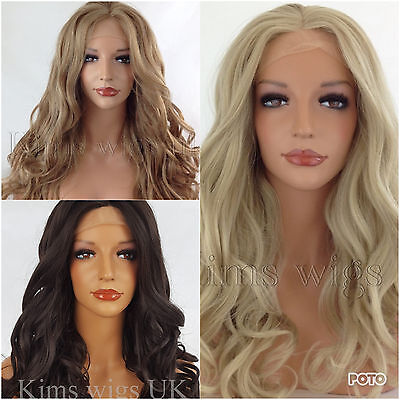 Long Ladies Womens Lace Front Wig Heat Resistant Kw03 Dark Brown, Blonde Shades