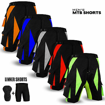 NEW Cycling MTB Short Off Road Cycle Bicyle Coolmax Padded Liner Shorts