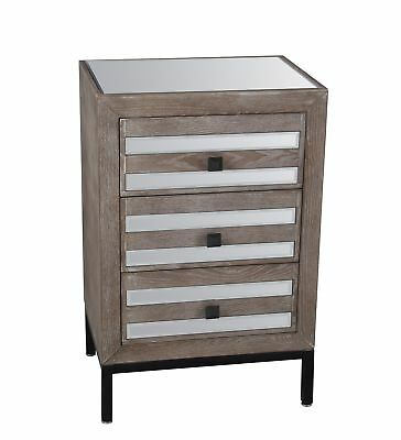 GwG Outlet 3 Drawer Accent Stand in Mirrored 88895